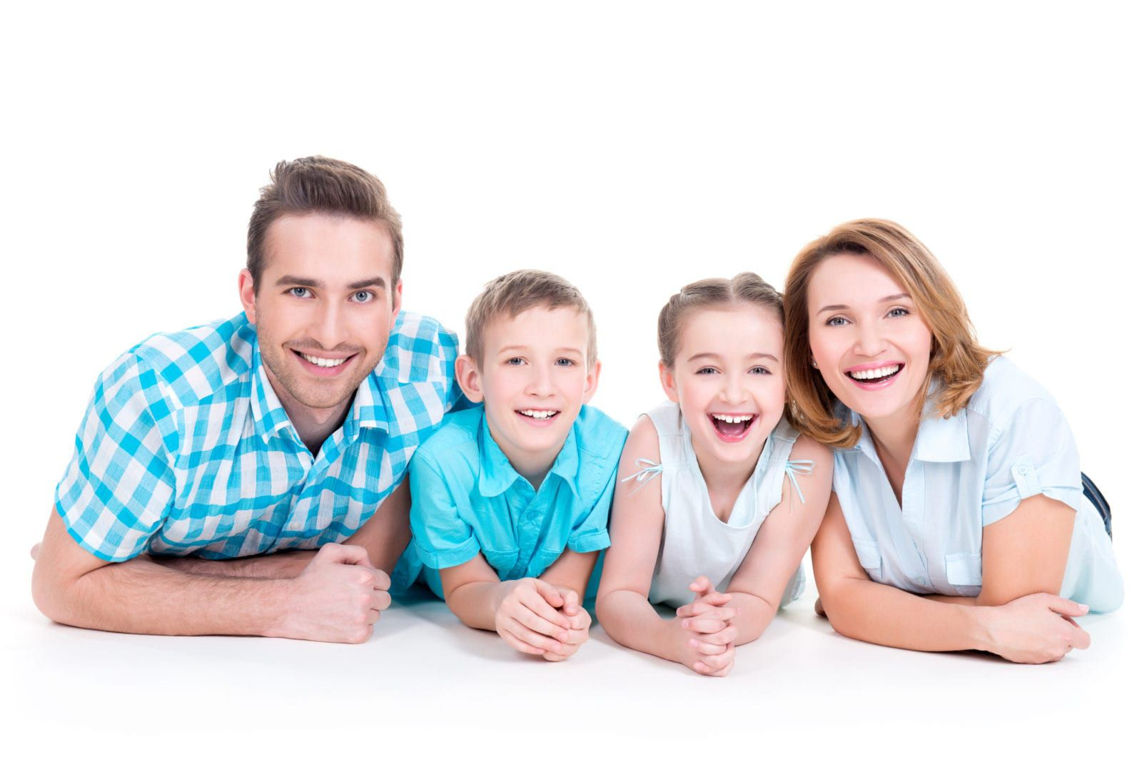 Couple smiling with their children